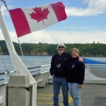 Phil and Sherry on ferry to galiano island skipper and gilligan