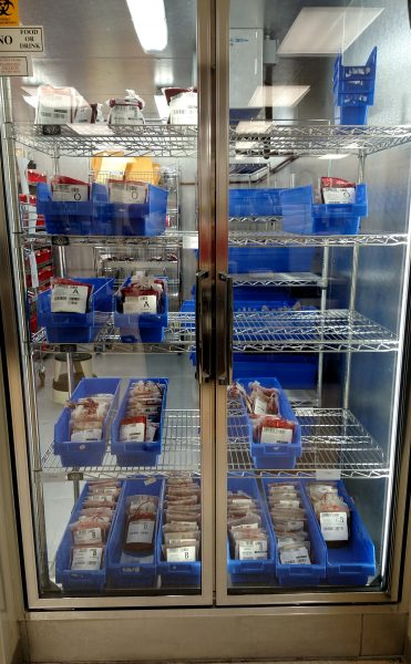 The Blood Bank's refrigerator stores red blood cell units and is constantly monitored to ensure a quality product.