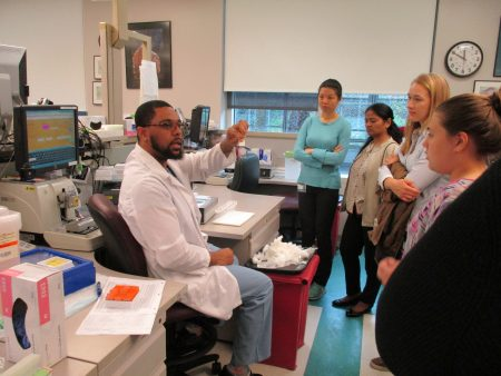 Histopathology technician, Delroy Curtis explained how tissue samples are cut one cell-layer thick on a microtome.