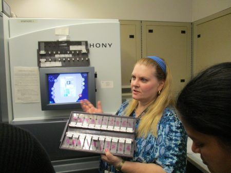 Karen Bordenet demonstrated how the slides are initially stained for the pathologists to review.