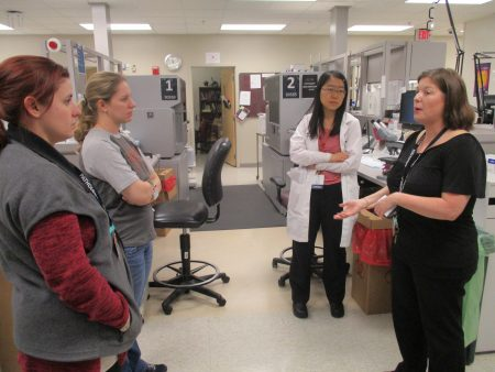 In the sample testing area, Lorraine explained the methodology of the Immucor NEO, an automated blood bank analyzer.